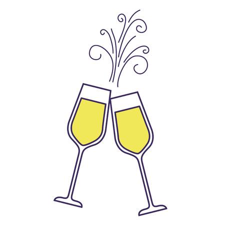 paar champagne glas proost drankje sparkles Kerst vectorillustratie Vector Illustratie