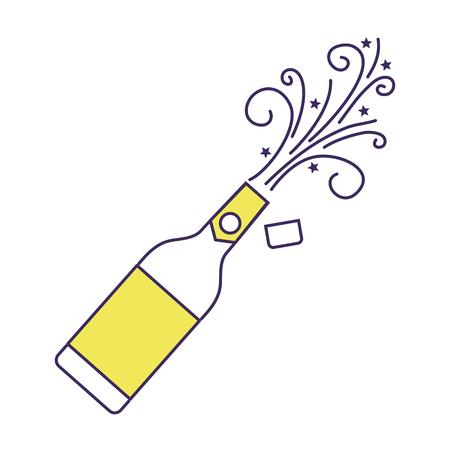 champagne fles explosie drankje viering vectorillustratie