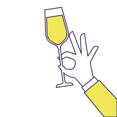 Hand hält Champagner Glas Cheers Feier Vektor-Illustration Standard-Bild - 90131994