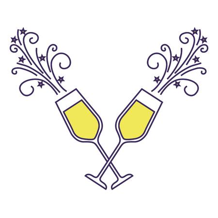 Paar Champagner Glasbeifallgetränk funkelt Weihnachtsvektorillustration Standard-Bild - 90132000