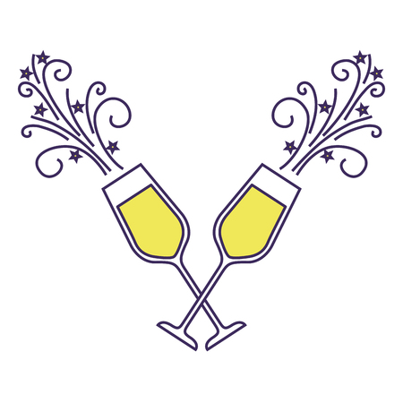 pair of champagne glass cheers drink sparkles christmas vector illustration