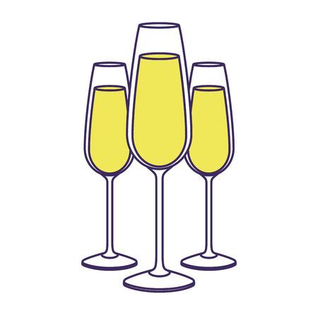 three glasses with champagne alcohol liquid celebration vector illustration Stock Vector - 90132002