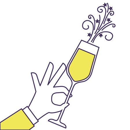 Mano que sostiene el champán de fiesta de cumpleaños ilustración vectorial celebración Foto de archivo - 90132005
