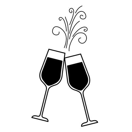 para kieliszek do szampana okrzyki pić błyszczy ilustracji wektorowych Boże Narodzenie Ilustracje wektorowe