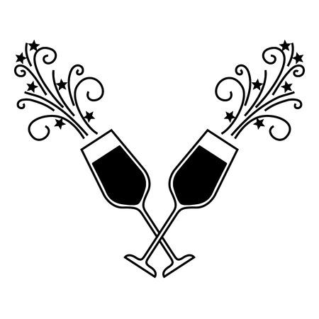 Paar Champagner Glasbeifallgetränk funkelt Weihnachtsvektorillustration Standard-Bild - 90132013
