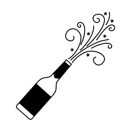 シャンパンのボトル爆発ドリンクお祝いベクトル図