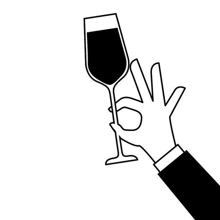 Mano que sostiene el champán de fiesta de cumpleaños ilustración vectorial celebración Foto de archivo - 90132017