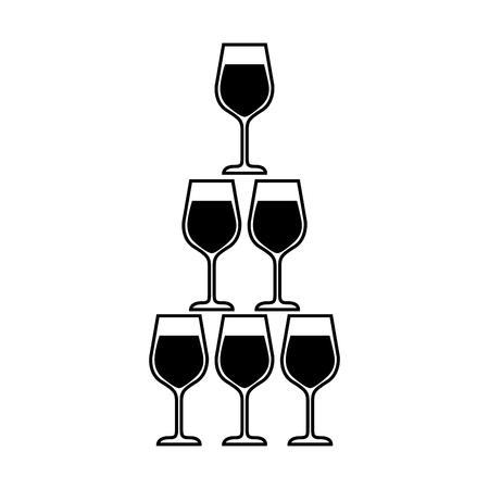 piramide van glazen fluit drinkbekers alcoholische champagne drinken vector illustratie Stock Illustratie