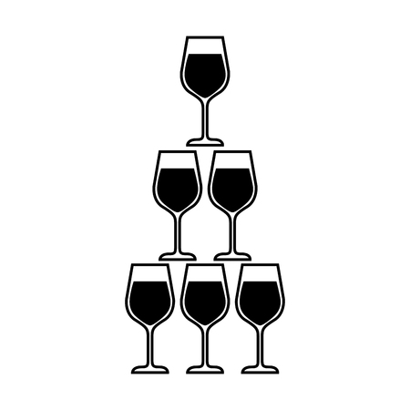 pyramid of glass flute goblets alcoholic champagne drink vector illustration