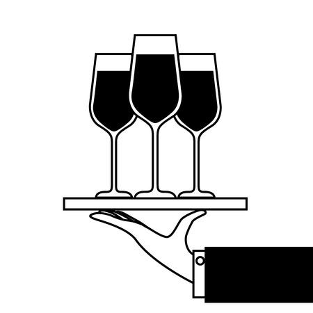 hand met dienblad met champagne wijnglazen service vectorillustratie