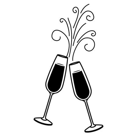 Paar Champagner Glasbeifallgetränk funkelt Weihnachtsvektorillustration Standard-Bild - 90132027