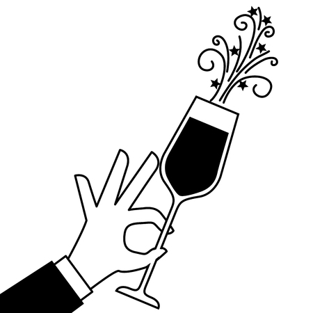 Mano sosteniendo ilustración de vector de celebración de aclamaciones de vidrio de champán Foto de archivo - 90132029