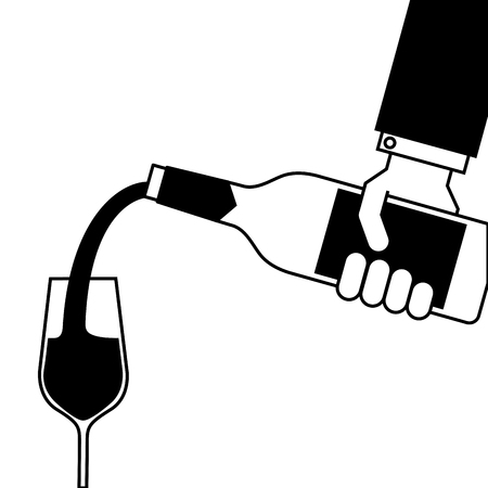 waiter hand holding a wine bottle and pouring glasses of wine vector illustration Banco de Imagens - 90132031