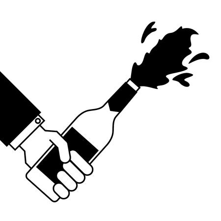 hand holding champagne bottle explosion event  vector illustration Ilustrace