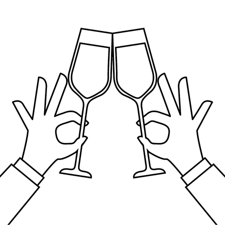 hands holding wine glass make a toast vector illustration