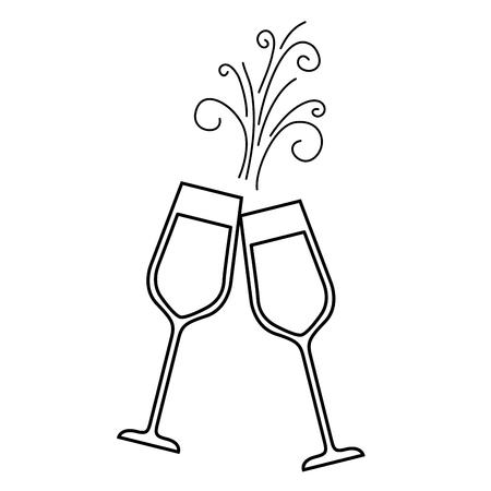 Paar champagne glas proost drankje sparkles Kerst vectorillustratie Stockfoto - 90132041