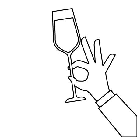 Mano che tiene il bicchiere di champagne acclamazioni illustrazione vettoriale celebrazione Archivio Fotografico - 90132112