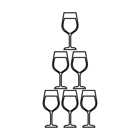 Pyramide der Glasflöte becher alkoholischer Champagnergetränk vector Illustration Standard-Bild - 90132113