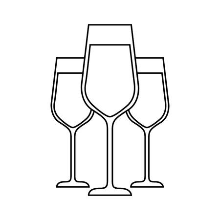 three glasses with champagne alcohol liquid celebration vector illustration Иллюстрация