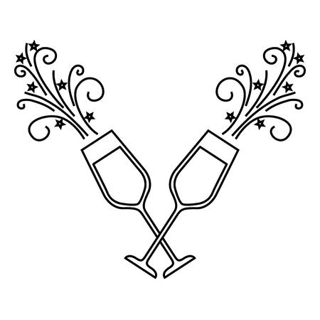 paar champagne glas proost drankje sparkles Kerst vectorillustratie Stock Illustratie