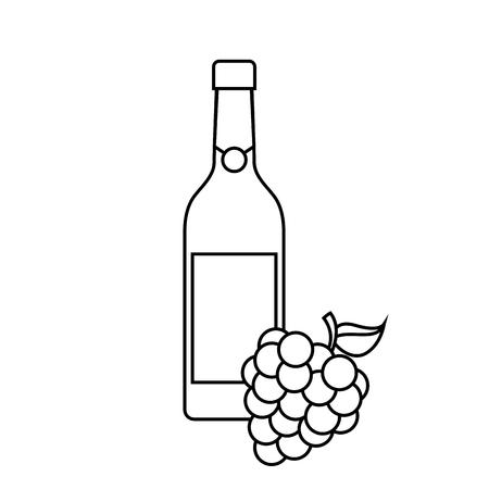Bouteille de vin et grappe de raisin alcool célébration illustration vectorielle Banque d'images - 90132124