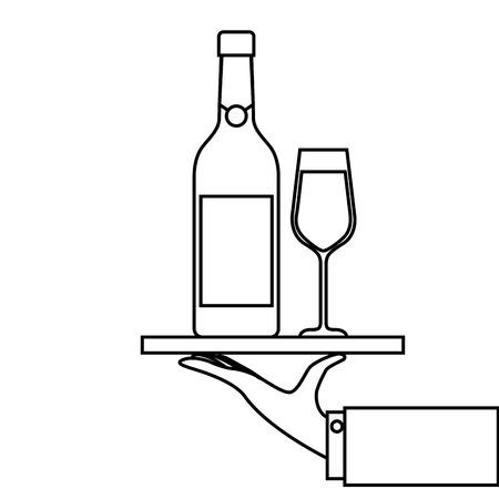 Bandeja de camarero mano sosteniendo con copa de vino de champán para el servicio ilustración vectorial Foto de archivo - 90132126
