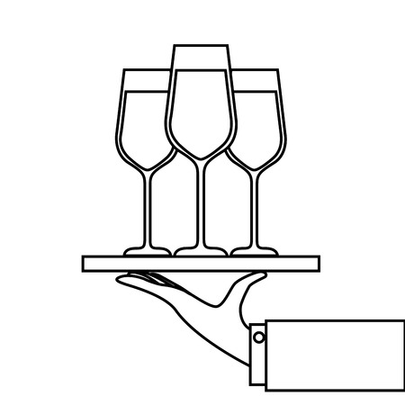 hand holding tray with champagne wine glasses service vector illustration