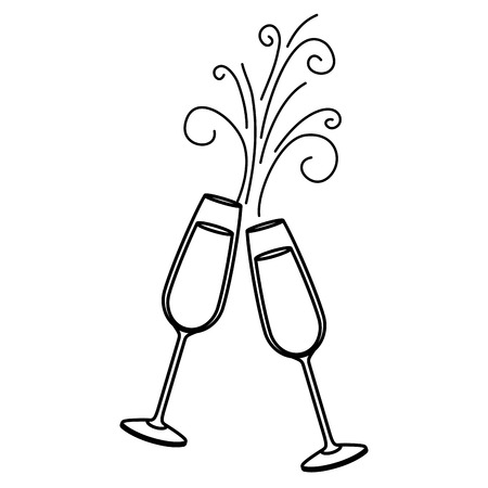 pair of champagne glass cheers drink sparkles vector illustration 免版税图像 - 90132129