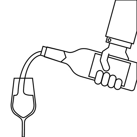 waiter hand holding a wine bottle and pouring glasses of wine vector illustration