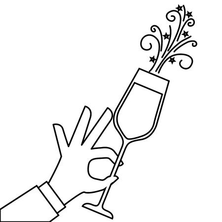 Mano que sostiene el champán de fiesta de cumpleaños ilustración vectorial celebración Foto de archivo - 90132157