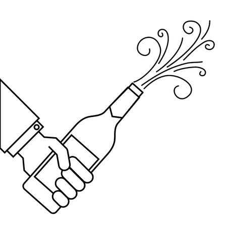 Hand hält Champagner-Flasche Explosion Veranstaltung Vektor-Illustration Standard-Bild - 90132159