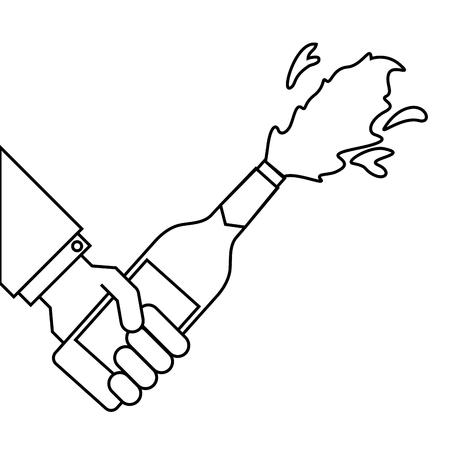 hand holding champagne bottle explosion event vector illustration