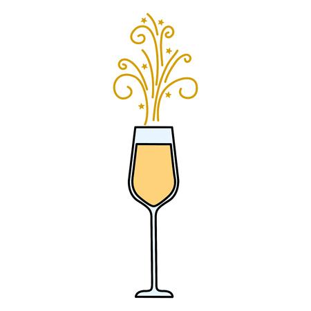 het glas champagne bruisende drank pictogram vectorillustratie