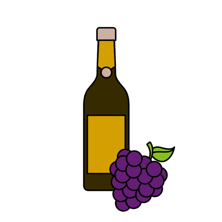 bottle of wine and bunch of grapes alcohol celebration vector illustration Banco de Imagens - 90132162