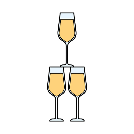 champagne glasses pyramid drink event celebration vector illustration Illustration