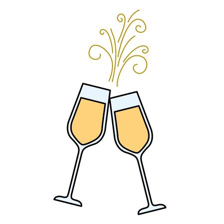 paar champagne glas proost drankje sparkles vector illustratie