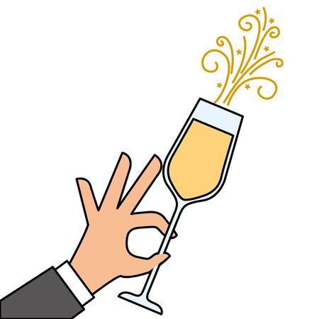 Mano sosteniendo ilustración de vector de celebración de aclamaciones de vidrio de champán Foto de archivo - 90132178