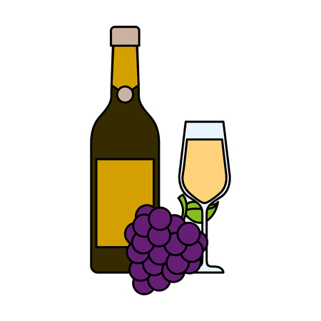 bottle champagne or wine and glass with bunch of grapes celebration vector illustration