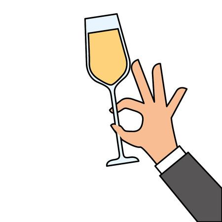 Mano sosteniendo ilustración de vector de celebración de aclamaciones de vidrio de champán Foto de archivo - 90132182