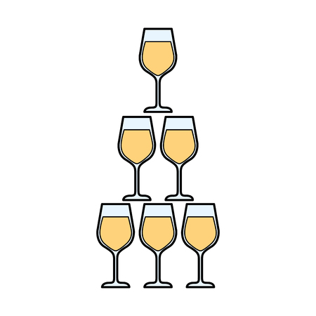 champagne glasses pyramid celebration event vector illustration