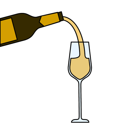 wine pouring from bottle in wine glass vector illustration