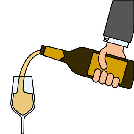 ワインのボトルを押しながらワイン ベクトル イラストのメガネを注いで給仕の手  イラスト・ベクター素材
