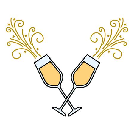 Coppia di bicchieri di champagne acclamazioni bevanda scintilla illustrazione vettoriale Archivio Fotografico - 90132262