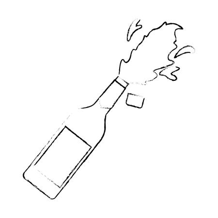 샴페인 병 코르크 폭발 음료 축하 벡터 일러스트 레이션