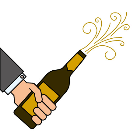 hand holding champagne bottle explosion event vector illustration