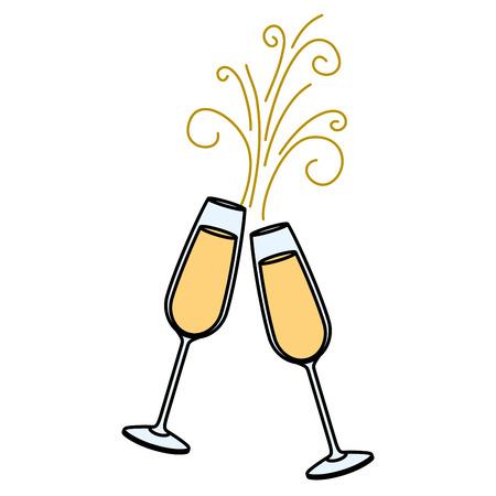 Coppia di bicchieri di champagne acclamazioni bevanda scintilla illustrazione vettoriale Archivio Fotografico - 90132281