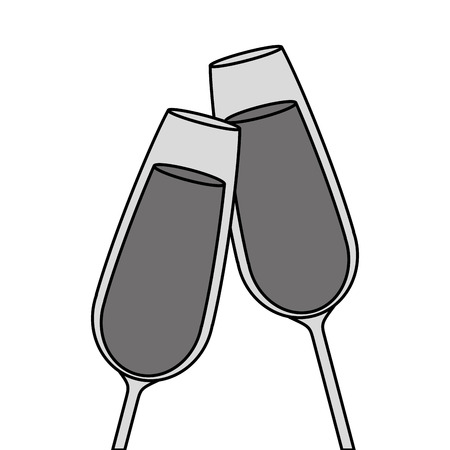 pair of champagne glass cheers drink celebration vector illustration Banco de Imagens - 90132284