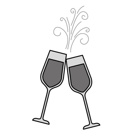 Paar Champagner Glas Prost Getränke funkeln Vektor-Illustration Standard-Bild - 90132285