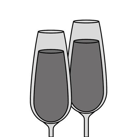 paar champagne glas proost drinkt viering vector illustratie Vector Illustratie
