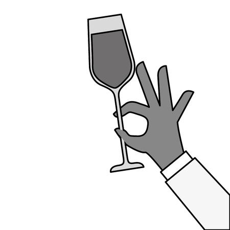 Mano sosteniendo ilustración de vector de celebración de aclamaciones de vidrio de champán Foto de archivo - 90132305